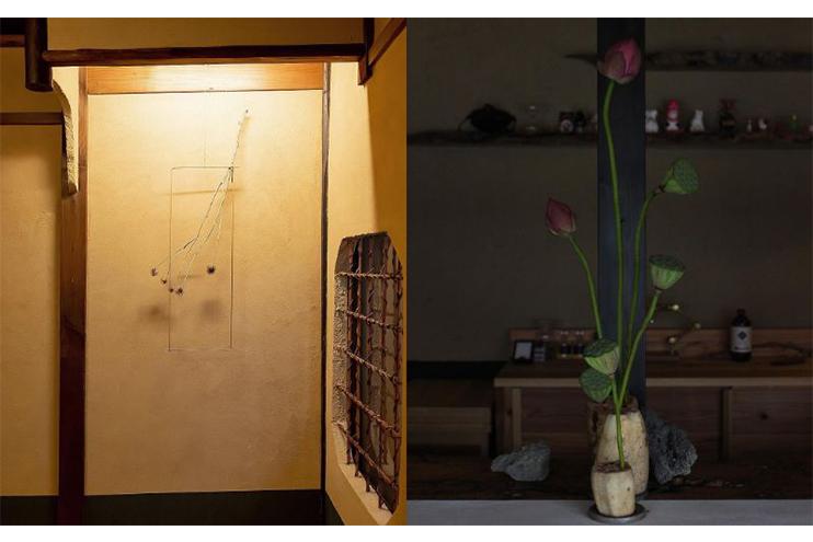 (左)宿空間での体験イベント「醒間 壱/SAMASIMA I」で客室を植物でデザインした時の様子(右)喫茶 狐菴で開かれたイベントで蓮の花を展示